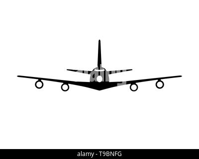 Airplane jumbo jet front view colored black on white background illustration - Stock Photo