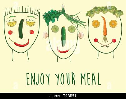Vector funny illustration with faces made of fruits and vegetables. Enjoy your meal. Three characters. eps 10 - Stock Photo