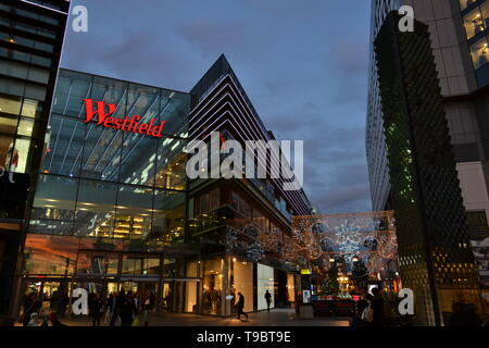 London/United Kingdom - December 15, 2014: Shopping centre Westfield Stratford City in Stratford during the Christmas period in night hours. - Stock Photo