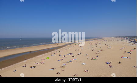 THE HAGUE, THE NETHERLANDS - APRIL 21, 2019: The beach of Scheveningen - Stock Photo