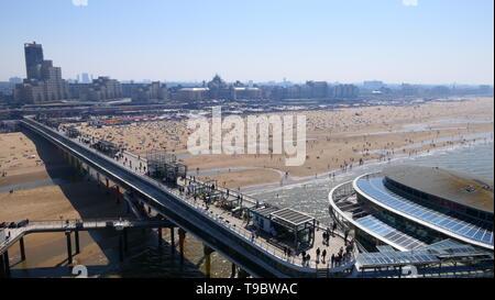 THE HAGUE, THE NETHERLANDS - APRIL 21, 2019: A extensive view over the beach promenade of Scheveningen - Stock Photo