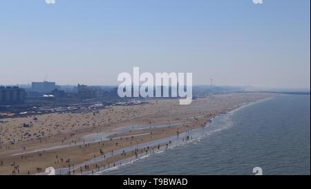THE HAGUE, THE NETHERLANDS - APRIL 21, 2019: A extensive view over the beach of Scheveningen - Stock Photo