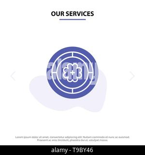 Our Services Flower, Spring, Circle, Sunflower Solid Glyph Icon Web card Template - Stock Photo