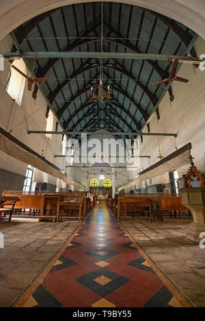 Vertical interior view of St. Francis Church in Fort Kochi, India. - Stock Photo