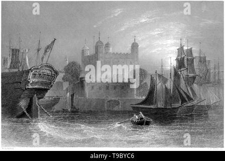 An engraving of the Tower of London scanned at high resolution from a book published in 1842. Believed copyright free. - Stock Photo