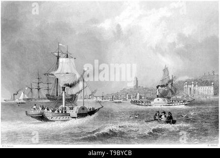 An engraving of Gravesend from the River scanned at high resolution from a book published in 1842.  Believed copyright free. - Stock Photo