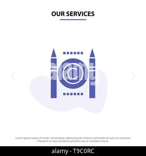 Our Services Business, Conflict, Copyright, Digital Solid Glyph Icon Web card Template - Stock Photo