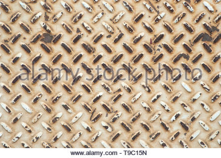 Metal Plate with Pattern that is grunge and distressed for a background or backdrop.  Horizontal flat lay that works as vertical. - Stock Photo