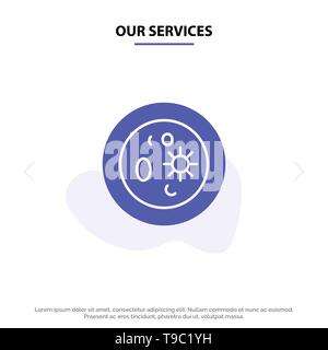 Our Services Biochemistry, Biology, Chemistry, Dish, Laboratory Solid Glyph Icon Web card Template - Stock Photo