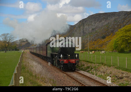 The steam engine 'Mayflower' on a special excursion up the far north line in Strath Fleet, Scotland. - Stock Photo