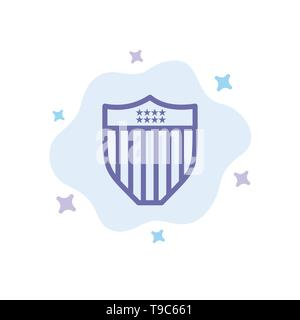 American, Shield, Security, Usa Blue Icon on Abstract Cloud Background - Stock Photo