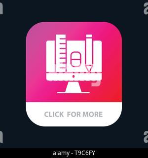 Computer, Education, Scale, Pencil Mobile App Icon Design - Stock Photo