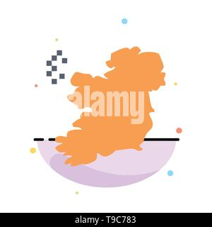 World, Map, Ireland Abstract Flat Color Icon Template - Stock Photo