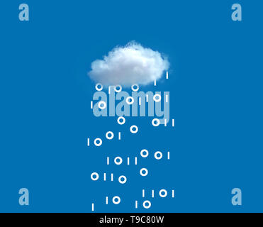 concept image of a white cloud in a blue sky raining binary code depicting cloud technology - Stock Photo
