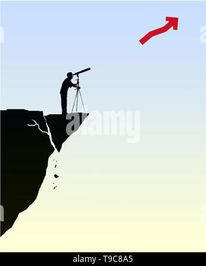 concept image of a man standing on a crumbling cliff looking through a telescope at at a profit arrow pointing upwards depicting unawareness - Stock Photo