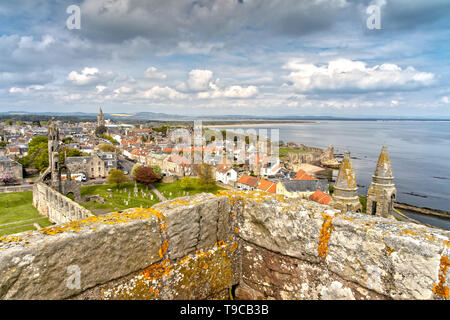 Aerial View over St Andrews in Scotland - Stock Photo
