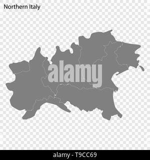 High Quality map of Northern Italy is a Region of Italy, with borders of the districts - Stock Photo