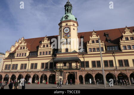 LEIPZIG, GERMANY - FEBRUARY 23, 2019: The historic old Town hall of the City of Leipzig - Stock Photo