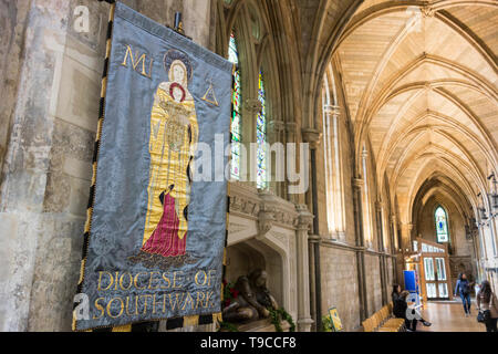 Interior of Southwark Cathedral - The Cathedral and Collegiate Church of St Saviour and St Mary Overie, Southwark, London, UK - Stock Photo