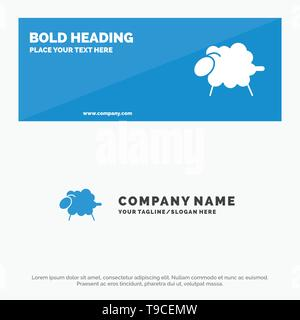 Lamb, Sheep, Wool, Easter SOlid Icon Website Banner and Business Logo Template - Stock Photo