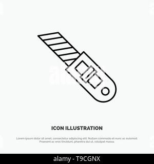 Knife, Tool, Repair, Cutter Line Icon Vector - Stock Photo