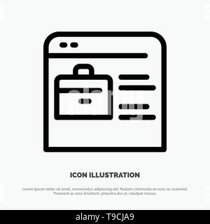 Bag, Find Job, Job Website, Online Portfolio Line Icon Vector - Stock Photo