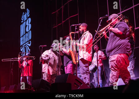 Milan Italy. 17 May 2019. The American group THE HOT 8 BRASS BAND performs live on stage at Mediolanum Forum opening the show of George Ezra. - Stock Photo