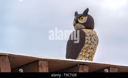 Panorama Close up of an owl sculpture on top of a roof against cloudy sky in winter - Stock Photo