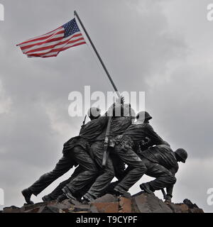 The U.S. Marine Corps War Memorial, which depicts the raising of the American flag during the Battle of Iwo Jima in WWII. - Stock Photo