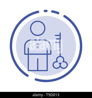 Solution, Key, Lock, Man, Person, Provider, Security Blue Dotted Line Line Icon - Stock Photo
