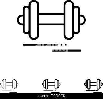 Dumbbell, Fitness, Sport, Motivation Bold and thin black line icon set - Stock Photo