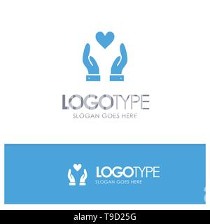 Hand, Love, Charity Blue Logo vector - Stock Photo