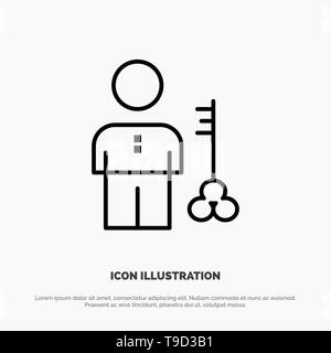 Solution, Key, Lock, Man, Person, Provider, Security Line Icon Vector - Stock Photo