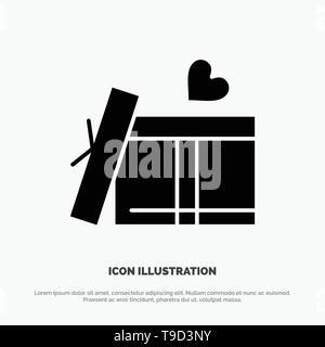 Gift box, Heart, Love Solid Black Glyph Icon - Stock Photo