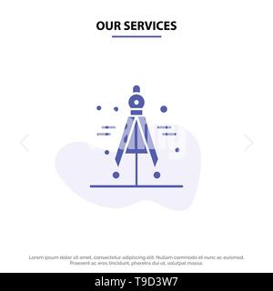 Our Services Compass, Divider, Science Solid Glyph Icon Web card Template - Stock Photo