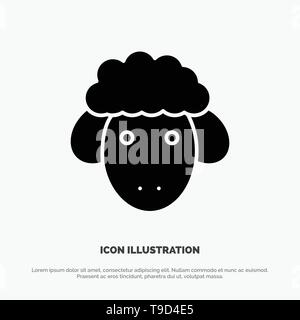 Easter, Lamb, Sheep, Spring solid Glyph Icon vector - Stock Photo