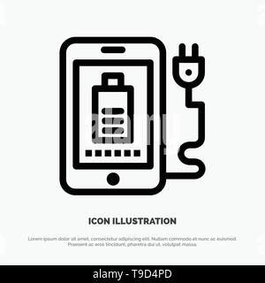Mobile, Charge, Full, Plug Vector Line Icon - Stock Photo