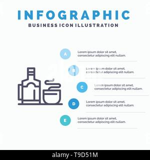 Tea, Cup, Hot, Hotel Blue Infographics Template 5 Steps. Vector Line Icon template - Stock Photo