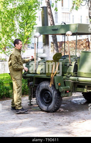 Samara, Russia - May 9, 2019: Mobile metal military kitchen stove to feed soldiers - Stock Photo