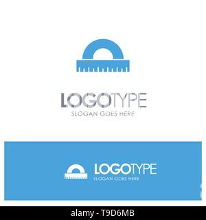 Design, Drawing, Education, Geometry Blue Solid Logo with place for tagline - Stock Photo