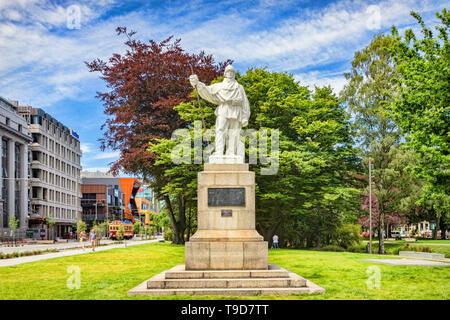 3 January 2019: Christchurch, New Zealand - Statue of Captain Robert Falcon Scott beside the Avon River in Christchurch. The statue was sculpted by hi - Stock Photo