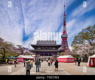 5 April 2019: Tokyo, Japan - Visitors at Zozoji Buddhist Temple in cherry blossom season, with the Tokyo Tower. - Stock Photo