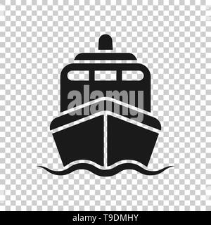 Ship cruise sign icon in transparent style. Cargo boat vector illustration on isolated background. Vessel business concept. - Stock Photo