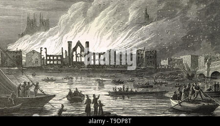 Palace of Westminster on fire, the burning of Parliament, 16 October 1834 - Stock Photo