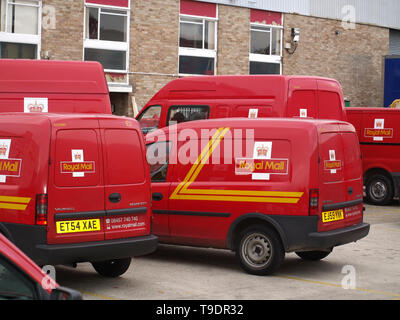 Royal Mail vans parked at Eastleigh depot during strike action in 2007 - Stock Photo
