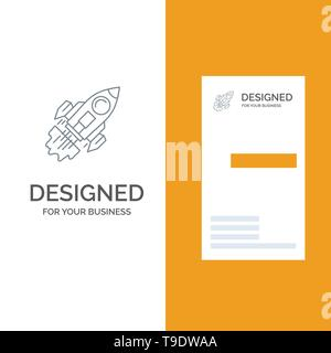 Startup, Business, Goal, Launch, Mission, Spaceship Grey Logo Design and Business Card Template - Stock Photo