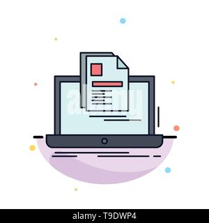account, Laptop, Report, Print, Resume Flat Color Icon