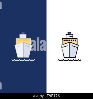 Boat, Ship, Transport, Vessel  Icons. Flat and Line Filled Icon Set Vector Blue Background - Stock Photo