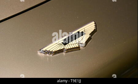 THE HAGUE, THE NETHERLANDS - APRIL 21, 2019: Close-up view of the logo of the famous and genuine Aston Martin from James Bond, 007 within the Louwman  - Stock Photo