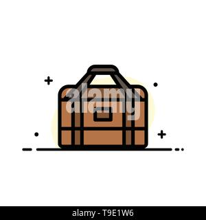 Bag, Equipment, Gym, Sports  Business Flat Line Filled Icon Vector Banner Template - Stock Photo